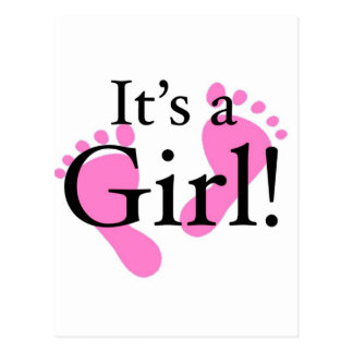 É uma menina - recém-nascida, bebê, chá de fraldas cartao postal