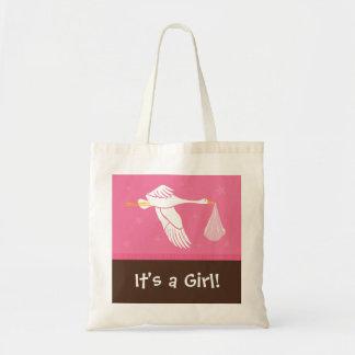 É uma menina! Saco - rosa e Brown Bolsa De Lona