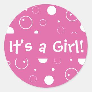 É uma menina! Selo da etiqueta do envelope das Adesivo