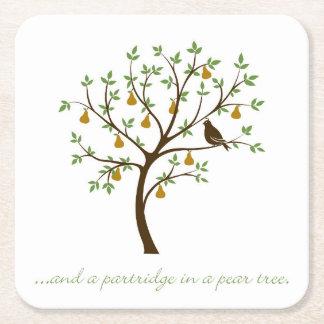 E uma perdiz em uma árvore de pera porta-copo de papel quadrado