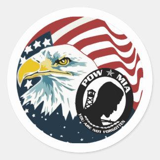 Eagle americano POW-MIA Adesivos Redondos