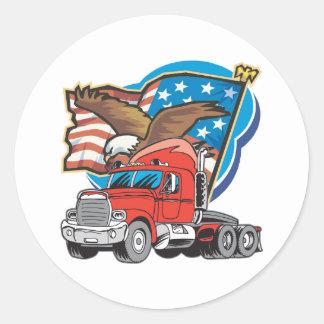 Eagle de transporte por caminhão adesivos em formato redondos