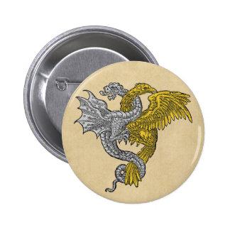 Eagle dourado e dragão de prata pins