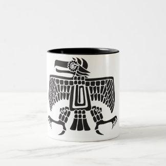 Eagle, hieroglyph mexicano (Maya) Caneca De Café Em Dois Tons