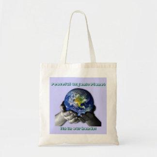 EarthHands, planeta orgânico calmo, seu dentro Sacola Tote Budget
