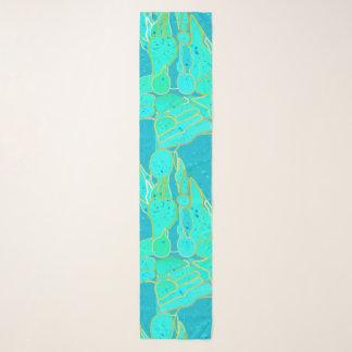 Echarpe Abstrato da gruta do mar - turquesa, azul, ouro