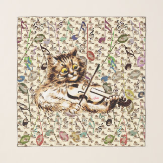 Echarpe Arte do gato do violino de Louis Wain do vintage