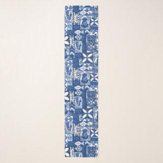 Echarpe Azul de índigo havaiano do Tapa do vintage de