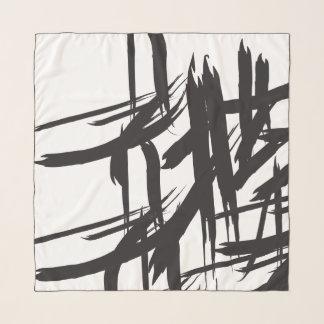 Echarpe Brushstroke, teste padrão preto e branco, abstrato