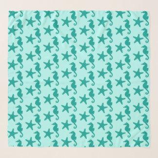Echarpe Cavalo marinho & estrela do mar - turquesa e aqua