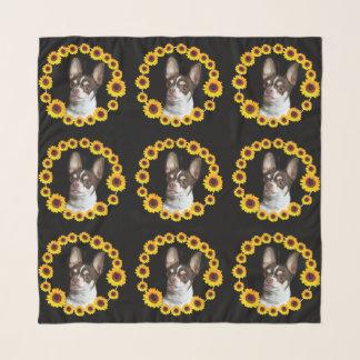 """Echarpe Chihuahua nos girassóis 36"""" x 36"""" lenço quadrado"""