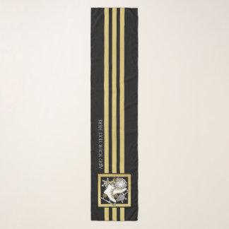 Echarpe Costume moderno do ouro do falso do preto do
