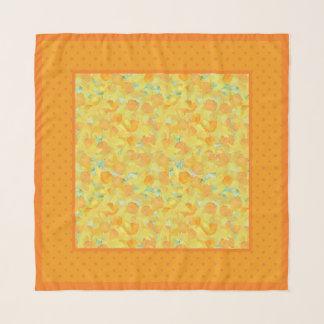 Echarpe Daffodils e laranja dourados em bolinhas amarelas