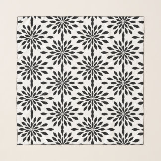 Echarpe Design geométrico chique, preto no chiffon branco