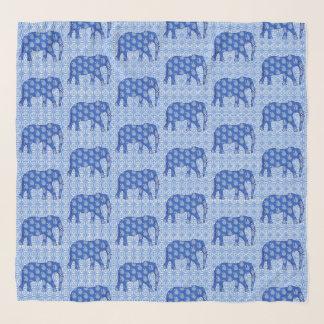 Echarpe Elefantes, azuis cobaltos e branco de Paisley