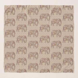 Echarpe Elefantes, Brown e Taupe do redemoinho do Fractal