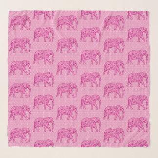 Echarpe Elefantes da flor, fúcsia & rosa pastel
