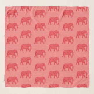 Echarpe Elefantes da flor, vermelho escuro e coral