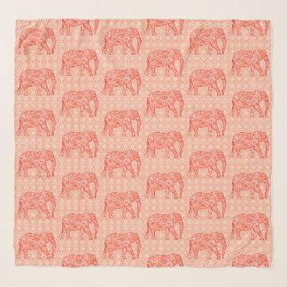 Echarpe Elefantes do redemoinho do Fractal, alaranjado e