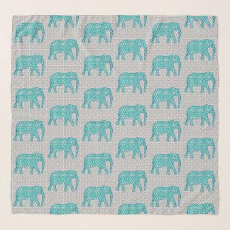 Echarpe Elefantes, turquesa, cinza & branco da flor da