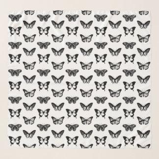 Echarpe Esboço da borboleta, preto e branco