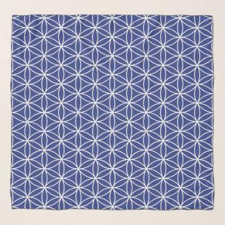 Echarpe Flor do branco do teste padrão da vida no azul