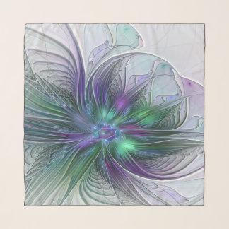 Echarpe Fractal moderno da arte abstracta da flor verde