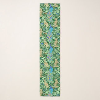 Echarpe Impressão, azuis cobaltos & verde do pavão de