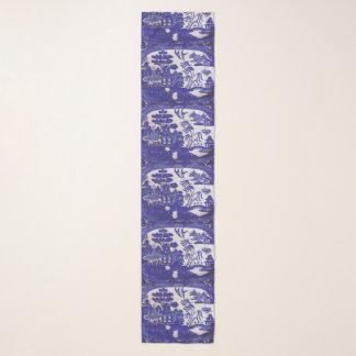 Echarpe Lenço azul do teste padrão do salgueiro do Chiffon