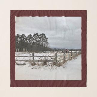 Echarpe Lenço da paisagem do celeiro do inverno de