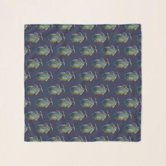 Echarpe Lenço do Chiffon da agitação do Piranha (marinho)
