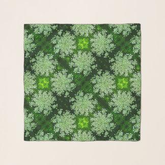 Echarpe Lenço floral do Chiffon do verde da flor do laço
