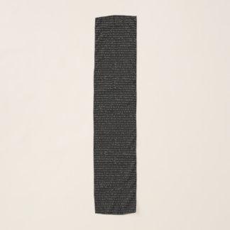 Echarpe Lenço preto e branco do texto de Jane Austen
