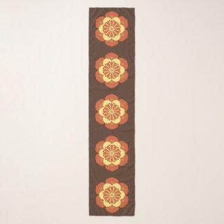 Echarpe Mandala, Brown, oxidação e amarelo da flor de