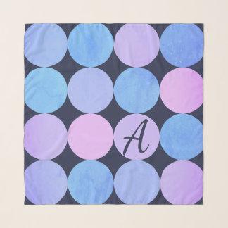 Echarpe Monograma roxo & cor-de-rosa azul dos círculos