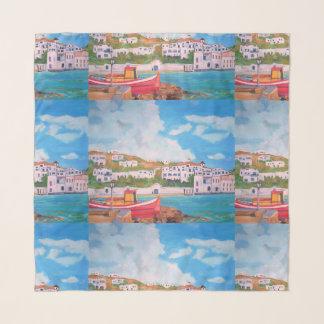 """Echarpe Mykonos - 36"""" x 36"""" lenço quadrado"""