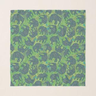 Echarpe Os elefantes de Paisley do divertimento, verde da