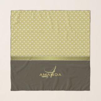 Echarpe Ouro e monograma elegante da verde azeitona de