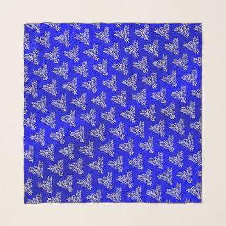 Echarpe Phoenix de prata, efeito gravado em azuis marinhos