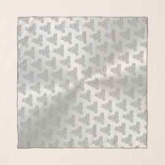 Echarpe Phoenix estilizado de prata com efeito gravado