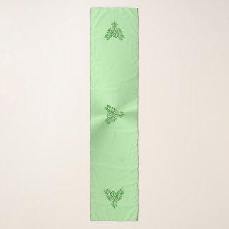 Echarpe Phoenix estilizado, efeito gravado em verde-maçã