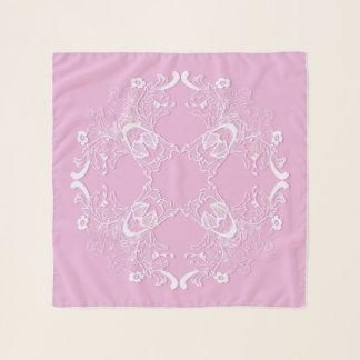Echarpe Projeto cor-de-rosa retro floral do laço