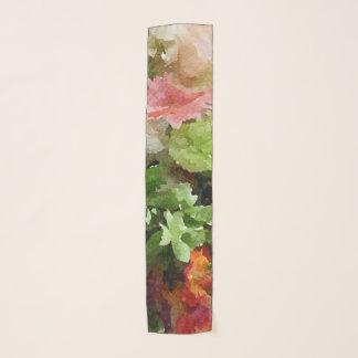 Echarpe Rosa floral e verde do pêssego da aguarela