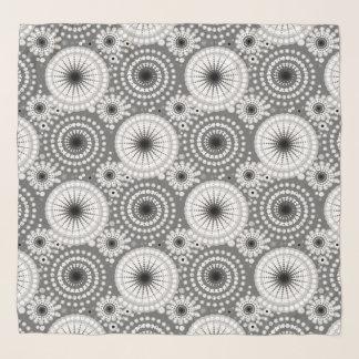 Echarpe Starbursts e pinwheels, cinza, preto e branco