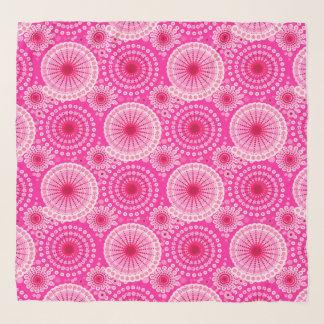 Echarpe Starbursts e pinwheels, cor-de-rosa & marrom