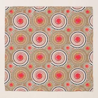 Echarpe Starbursts e pinwheels, Taupe, vermelho, branco