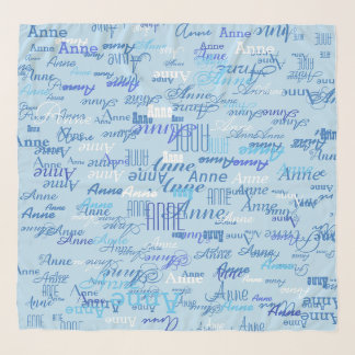 Echarpe teste padrão do nome da menina no azul
