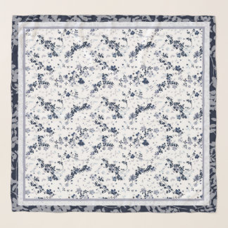Echarpe Teste padrão floral do Clematis do azul de índigo