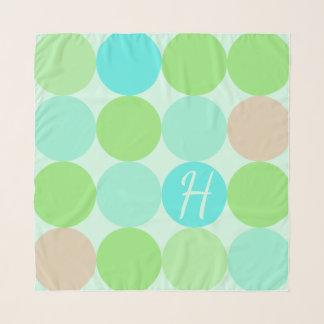 Echarpe Verde azul de turquesa & monograma dos círculos da