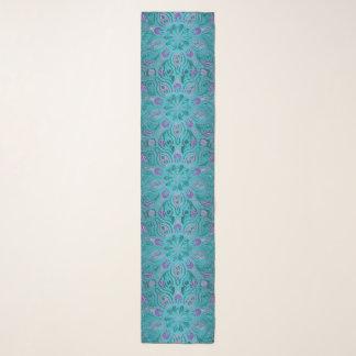Echarpe Verde da cerceta e lenço floral da mandala da